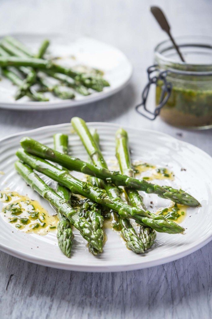 Lemon chive vinaigrette served with asparagus