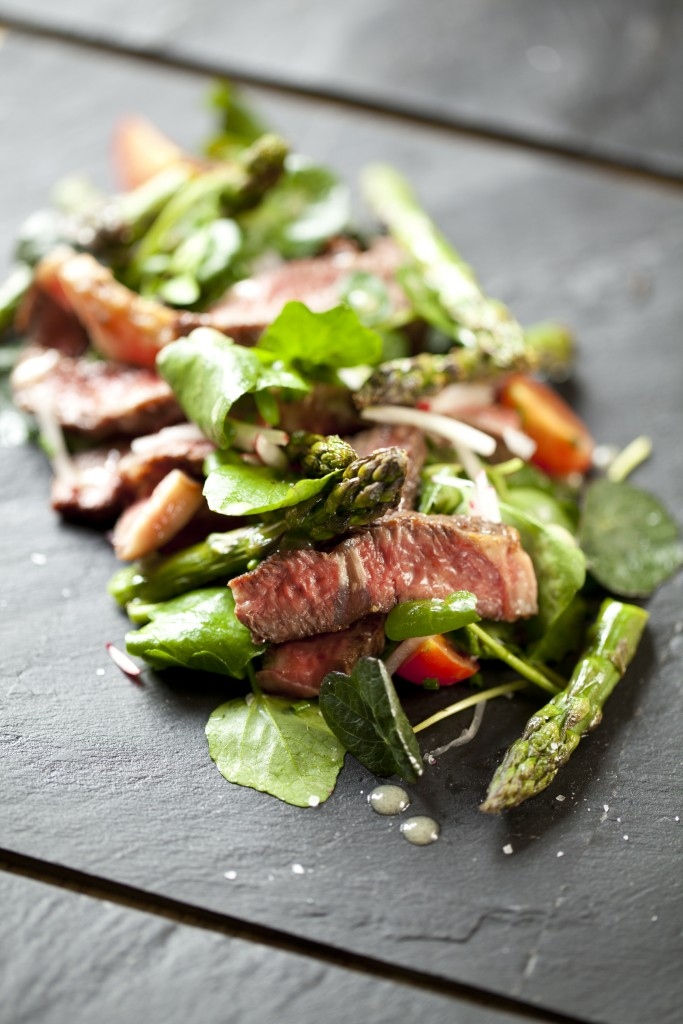 Beef and Asparagus Salad with Honey dressing, radishes and cherry tomatoes