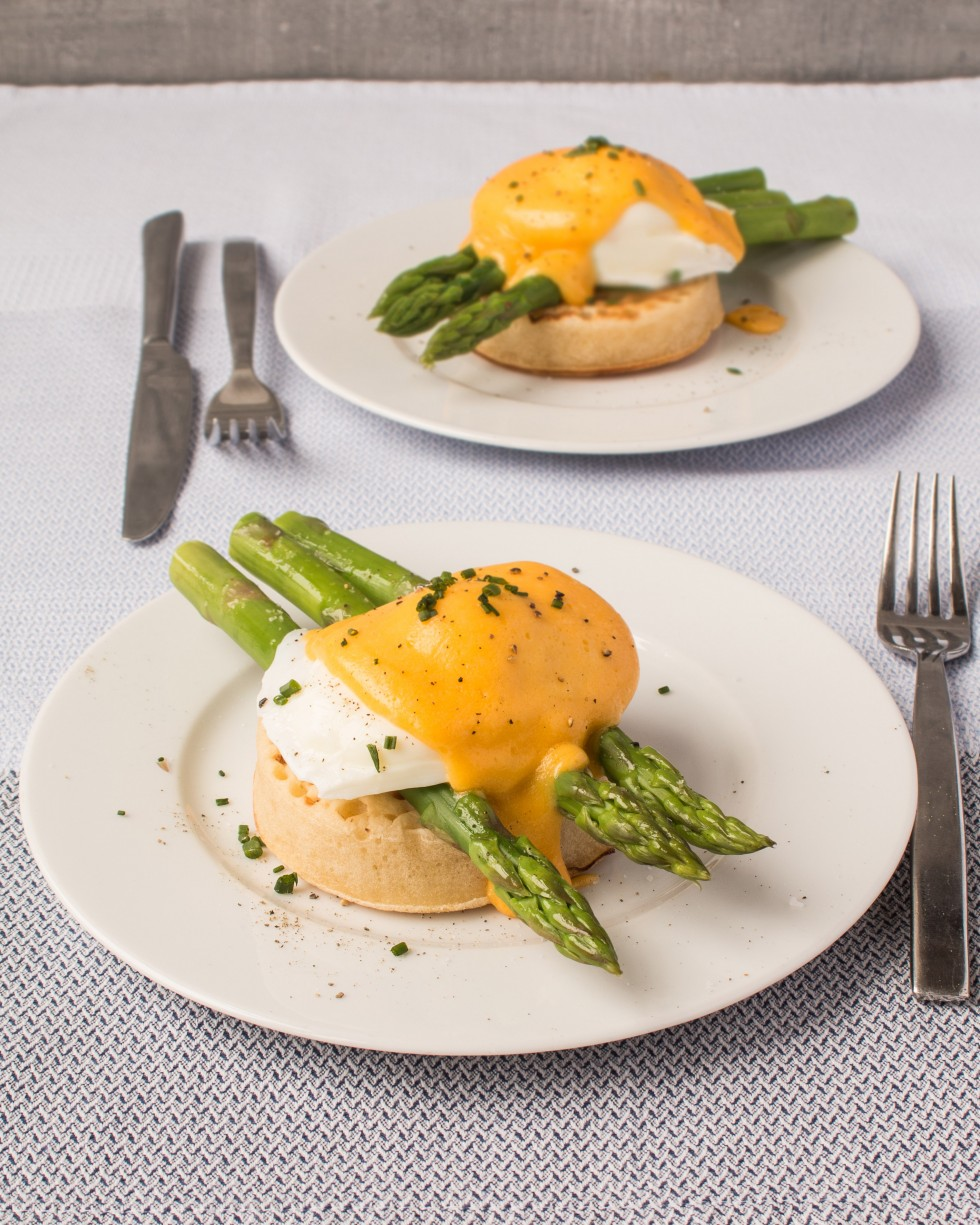 British asparagus, poached egg and hollandaise on a crumpet