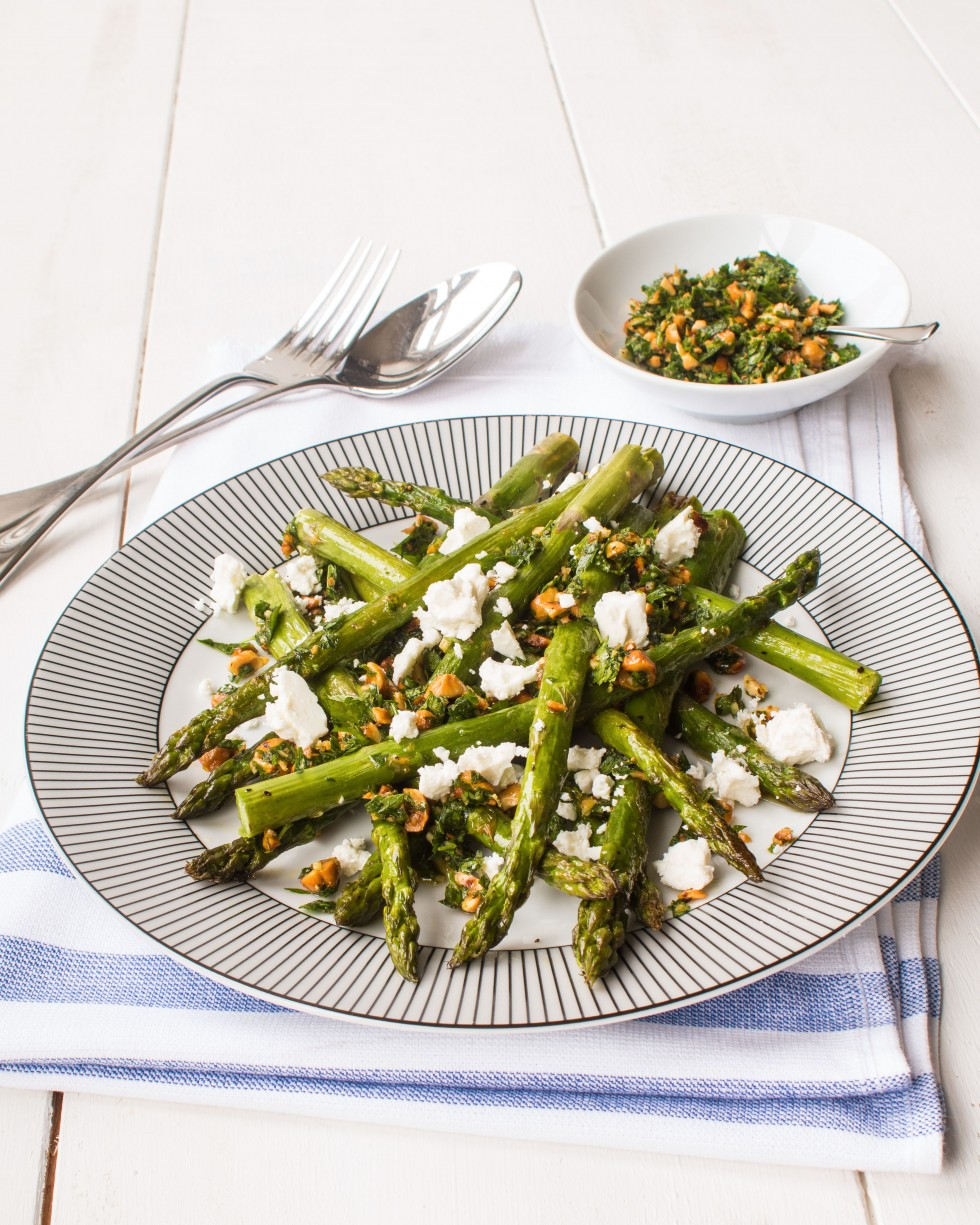 Roasted British asparagus with hazelnut gremolata and feta